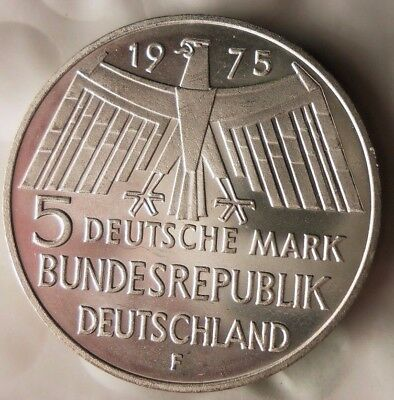 1975 GERMANY 5 MARKS - AU/UNC Low Mintage Silver Crown Coin - Lot #N18
