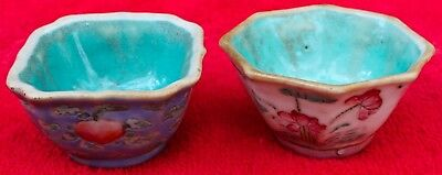 pair of antique small CHINESE porcelain BOWLS 19TH CENTURY hand painted - SIGNED