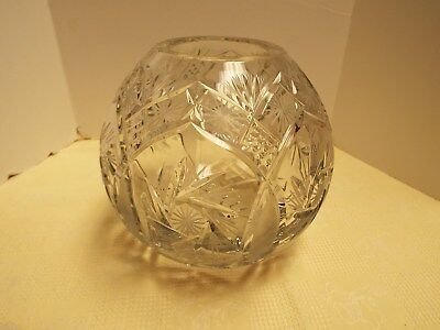 Crystal Cut Glass Large Rosebowl Mint Condition Very Heavy
