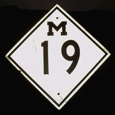 Vintage Mid-Century Michigan M-19 Metal Road Sign-Retired-Rare Find-Collectible!