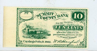 1862 10 Cent Note Summit County Bank