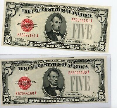 $5 1928B Red Seal **United States Note 160-161 A Consecutive