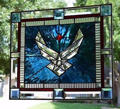 """Stained Glass Window Panel """"U.S. Air Force Bevel"""""""