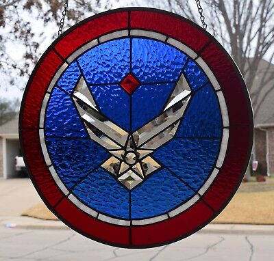 U. S. Air Force Beveled Stained Glass Window Panel