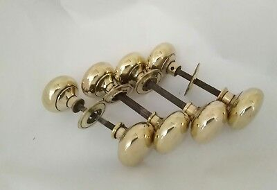 One Pair of Vintage Large Brass Door Knobs/Handles Reclaimed (4 Pairs Available)