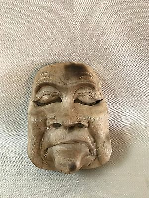 Vintage Wooden Asian Theater Mask Wall Art #3 Wood Hand Carved  OOAK