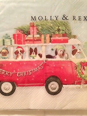 Pug & other dogs in a bus. By Molly & Rex. Christmas Holiday napkins 40 Ct 3-ply
