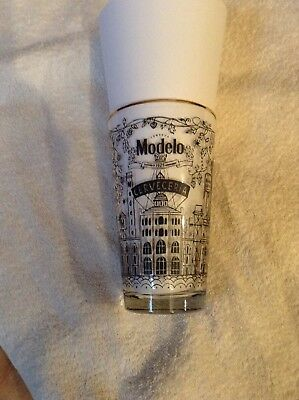 Brand New Modelo Especial Beer Glass Gold Trim Art Decor Drawing Must See