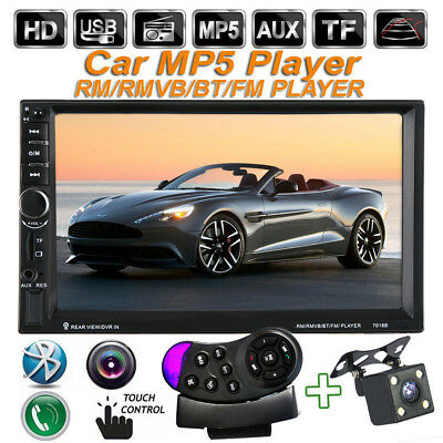 "7"" HD Touch Car Radio MP5 Player 2 Din  FM Steering Wheel Control + Rear Camera"