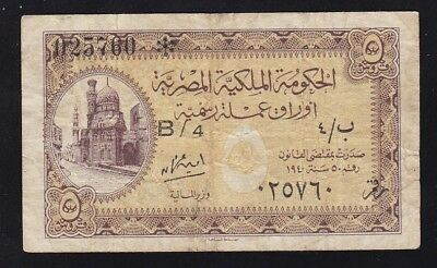 Egypt ------ 5  Piasters  1940 --------Vg/f------