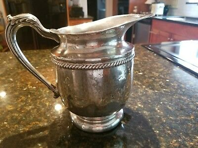 "English Silver Mfg Corp. Large Silverplate Pitcher 8"" Tall - Made in USA"