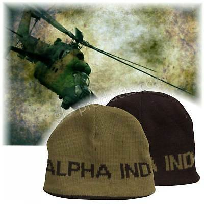 Alpha Reversible Beanie bIack-olive  Soft Acrylic Warm Winter Knit Hat 2 designs