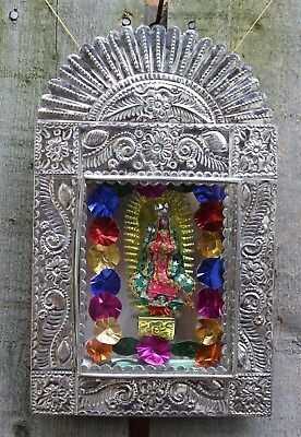 Old Fashion Style Hand Made Tin Retablo Our Lady of Guadalupe Folk Art Mexico