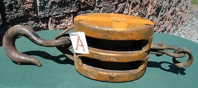 Antique Boston & Lockport Wood Cast Iron Barn Double Block Tackle Pulley &Hook A