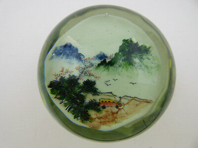 Chinese White large hand painted magnum glass paperweight with bus 1940s
