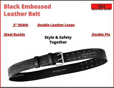 "Heavy Duty 2"" 50mm Wide 48""New Professional Leather Waist Work Belt 2 Pin Buckle"