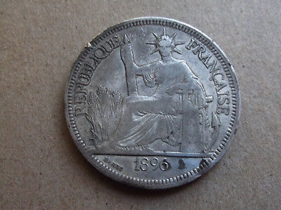 French Indo China 1896 Piastre Silver .900