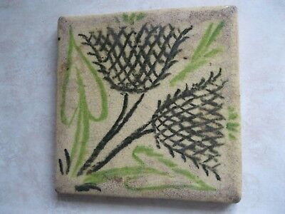 Antique floral tile 19th century victorian arts crafts Medmenham Grueby era tile