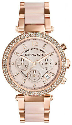 New Michael Kors Women's Parker MK5896 Rose Gold Blush Crystal Set Ladies' Watch