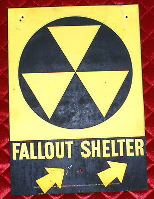 Vintage Civil Defense FALLOUT SHELTER SIGN 14 x 10 Inch Original Issue ZOMBIES!!
