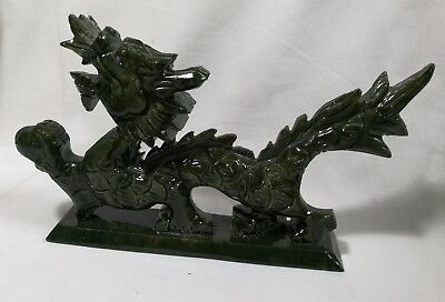 Used hand carved Chinese Green jade Dragon figures S20 X 10cm