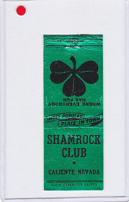Shamrock Club Matchbook Cover Green Foil Type Caliente  Nevada