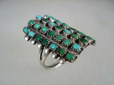 OLD ZUNI STERLING SILVER & 35 BLUE GREEN TURQUOISE CLUSTER ROW RING sz 6.5