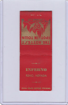 1940's Inferno Cabaret And Bar 226 1/2 Center St. Matchbookcover Reno Nevada