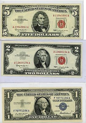 Collection Lot Of 3 Vintage Pieces Of U.s.a Currency Notes $1-$2-$5$ C