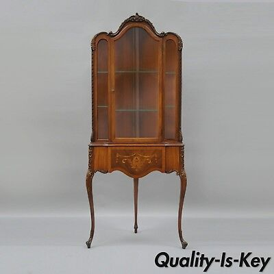 Antique French Louis XV Style Inlaid Petite Corner Cabinet Walnut China Curio