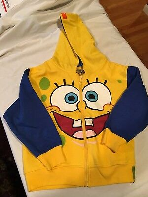 Youth Sz M 7-9 Yellow SPONGEBOB Hooded Cotton Fleece Sweatshirt Jacket *NEW*