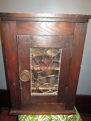 Antique Vintage  Wood Display Cabinet Curio Box Glass MEDICINE  Door & Shelves