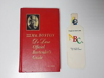 Old Mr. Boston De Luxe Official Bartender's Guide (Hardback, 1960) + Pamphlet