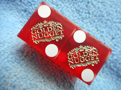 Pair of GOLDEN NUGGET DLV Casino Dice - Matte Red, Matching #s