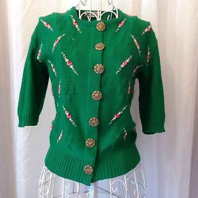 VINTAGE 1950's KNIT SWEATER TOP IN KELLY GREEN SZ SMALL