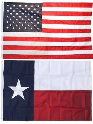 3x5 USA American Flag and Texas State Flag EMBROIDERED 210D Premium Flag Set