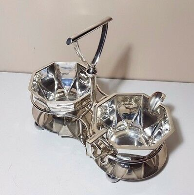 VINTAGE ART DECO STYLE SILVER PLATED MILK JUG & SUGAR BOWL SET IN STAND c1930