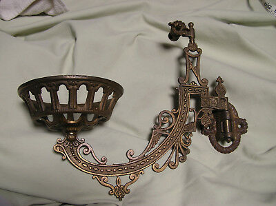 Antique Cast Iron Wall Mount Oil Lamp Holder With Bracket Brass Plated Swing Arm