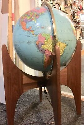 "Adrian Pearsall Modernist Mid-Century Walnut Base with Replogle 16"" Globe"