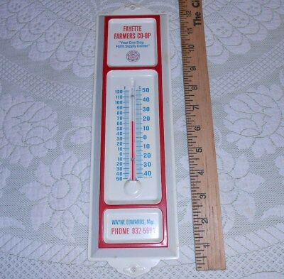 Vintage 1960s Fayette Alabama Farmers CO-OP Feed Farm Metal Thermometer Sign