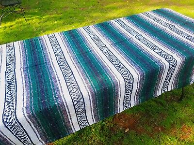 Mexican Blanket Falsa Forrest Green, Grey and White, Southwestern Beach Yoga