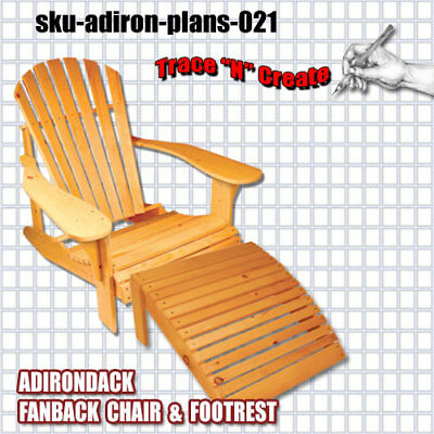 Full Sized - Adirondack Fanback Chair Plans, & Foot Rest Plans - Free Shipping