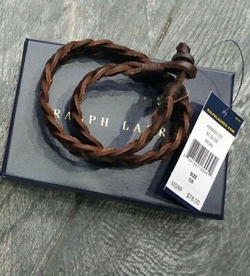 NEW RALPH LAUREN Leather Double Wrap Equestrian Leather Bracelet Wristband brown
