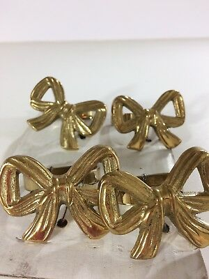 Vintage set of 4 Brass Bow Ribbon Napkin D Ring Holders Holiday Christmas