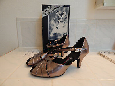 womens dance heels Diamant Germany Dance Art  pewter bronze sz 5 1/2 or 8 USA