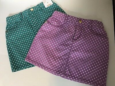 Girl's Gymboree Polkadot Skirts Size 7 NEW Purple and Teal 2 skirts