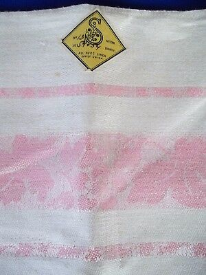 Vintage Jacquard linen Russian USSR new with tag tablecloth 52 x 54 Pink Beige