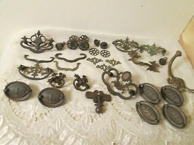 Vintage Dresser Hardware Junk Drawer Lot Pulls & Hooks
