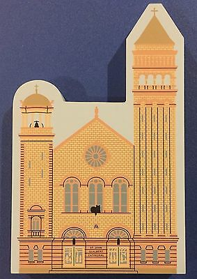 """1996 The Cat's Meow Village St. Johns Gualbert Cathedral Wood Art 7"""" x 4.5"""""""