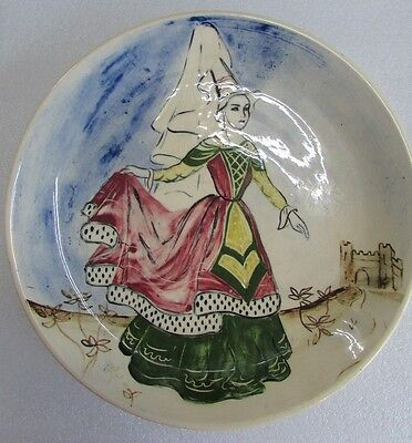 Australian Pottery Martin Boyd Hand Painted Lady Plate Art Studio Ceramic